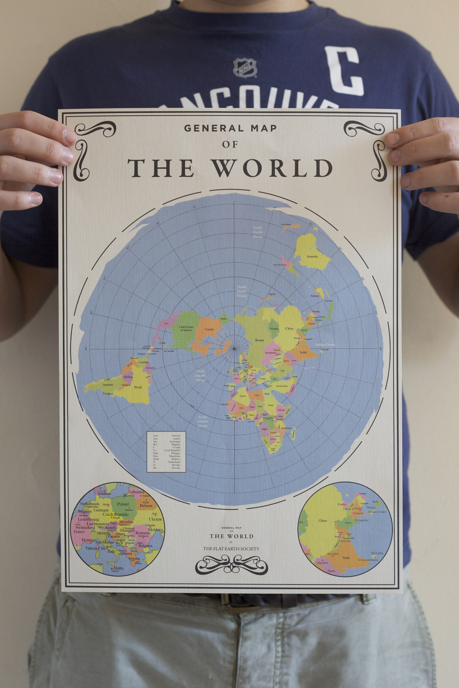 Flat earth society max anastasi its beliefs i produced a promotional poster and fold out map of the world as seen by the society this was produced in poster and fold flat map form gumiabroncs Choice Image