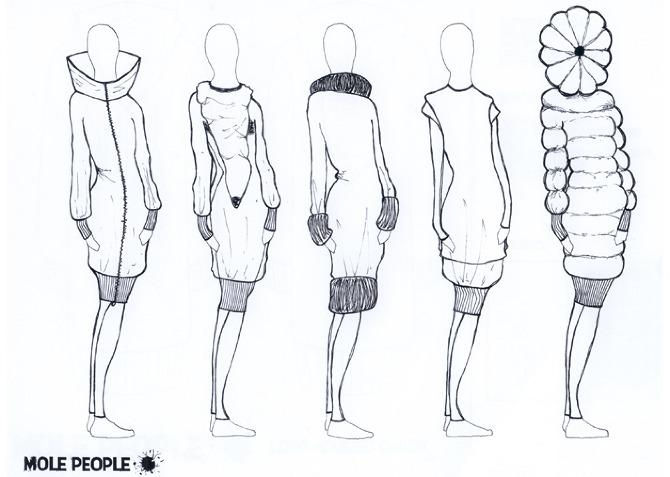 Line Art Fashion Design : Mole people fashion line up jacynda birrell